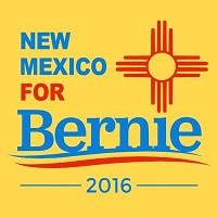 bright yellow New Mexico for Bernie Sanders logo