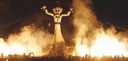 annual burning of the Zozobra marionette scapegoat effigy at Fiesta de Santa Fe