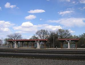 the Rail Runner commuter train passenger station at Belén, New Mexico in March 2007