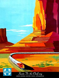 AT&SF poster of 'The Chief Way' and Monument Valley, Arizona rock formation